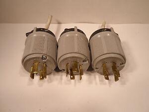 THREE (3) Arrow Hart Locking Plug 20A 480V 3PH 3P 4W GRD Turn & Pull