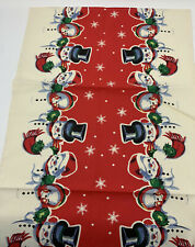 Vintage 1940s Christmas Printed Tablecloth Runner SnowmanSnowflakes