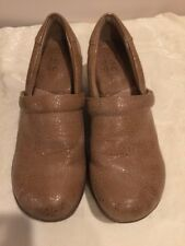 B.O.C. Born  Gold/Taupe  Metallic Slip-On Mule Clogs  Wedge Shoes Sz 8.5 M