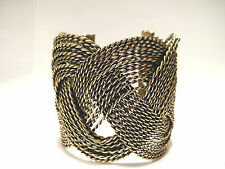 Sailor Knot Turks Head Twisted Wire Wide Cuff Bracelet Silver & Antique Gold