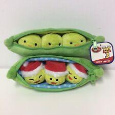 "Disney Store Toy Story 3 Original Peas In Pod 8"" Plush Plus HTF Christmas Set"