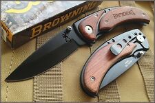 BROWNING COCOBOLO WOOD HANDLE FOLDING KNIFE 4.5 INCH CLOSED WITH POCKET CLIP