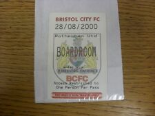 28/08/2000 Ticket: Bristol City v Rotherham United [Boardroom] . Any faults with