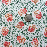 """Vintage Partial Feed Sack  Lovely Red & Coral FLoral w/Green & Brown app 21""""x18"""""""