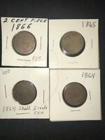 2 Cent Lot 1866 1865 1864x2  (4) Coins