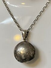 Vintage Hallmarked Sterling Silver Decorative Locket & Belcher Silver Chain