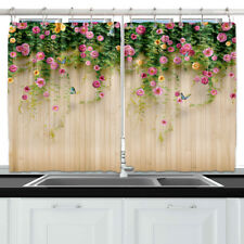 Pink Rose Flower Fence Wall Kitchen Curtains Window Drapes 2 Panels Set 55*39""
