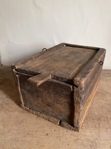Early Antique Large Wooden Candle Box Slide Top Handmade AAFA Patina
