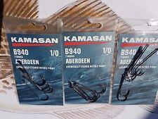 3 X KAMASAN B940 SIZE1/0 LONG SHANK ABERDEEN CHEMICALLY MATCH SEA FISHING HOOKS
