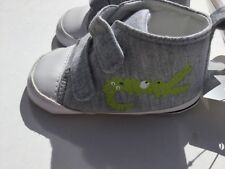 Baby Boy Grey Trainer/Bootie style Pram Shoes with Green Crocodile detail