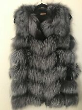 La Fiorentina Women's Real Silver Fox Fur Vest Sleeveless Coat Jacket