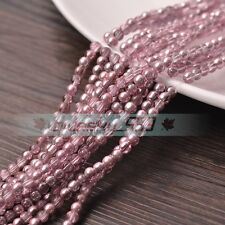 Wholesale 4mm Shiny Silver Plated Round Crystal Glass Loose Spacer Beads Lots