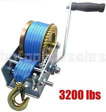 3200lbs Polyester Strap 2 Gear Hand Winch Hand Crank Gear Winch ATV Boat Trailer