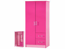 High Gloss Pink 2 Door 2 Drawer Wardrobe - Marina Kids Bedroom Furniture