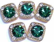5 - 2 HOLE SLIDER OR SPACER BEADS 8mm EMERALD & 2mm CLEAR AUSTRIAN CRYSTALS
