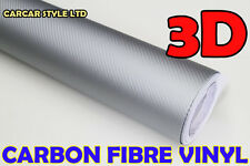 【SILVER 750mm x 3000mm AIR/BUBBLE Free】CARBON FIBRE Vehicle Wrap Vinyl Sticker