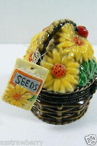 Colectible Porcelain Sunflower Flower Seed Ladybug Basket Home gardening Trinket