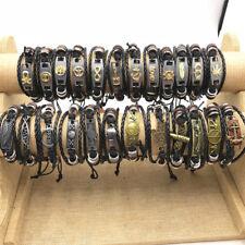 Fashion 25pcs/Lots Mix Skull friend etc Leather Braided Bead Charm Bracelets