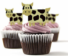 ✿ 24 Edible Rice Paper Cup Cake Toppings, Cake decs - Cows ✿