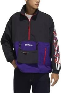 Adidas CNY Half-Zip Windbreaker Anorak Jacket Mens Sz M Black/Collegiate Purple