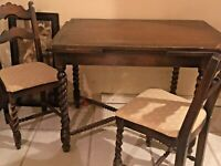 Antique Victorian Oak Barley Twist Draw-Leaf Kitchen Dinette Set Table 4 Chairs