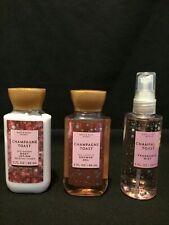 Bath & Body Works Champagne Toast Shower Gel-Lotion & Mist Spray 3oz Travel Size