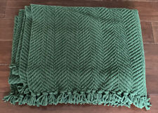 "Pottery Barn Grand Chenille Throw, Emerald Dark Green with Fringe, 50"" x 70"" Euc"