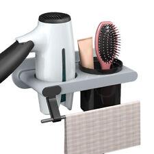 Wall Mount Hair Dryer Holder Stand Towel Rack Shelf Bathroom Storage Organizer