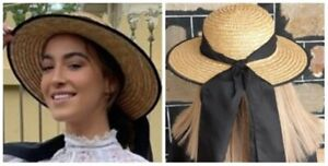 Vintage look summer straw hat with long black cotton ribbon, size 54cm