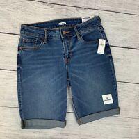 Old Navy Bermuda Denim Jean Shorts sz 0 Cuffed Medium Wash Womens New NWT