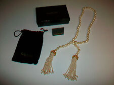 Stunning Joan Rivers Classics Collection Faux Pearl Necklace w/ Tassels Rondelle