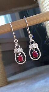 NEW Genuine Ruby & Natural White Zircon Trio Heart Earrings,High Polish Platinum