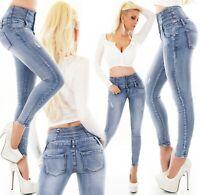 Damen Jeans Hose High Waist Röhrenjeans Skinny Röhre Corsage hoher Bund XS-XL