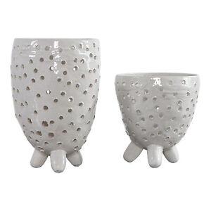 Modern Pierced Ivory White Ceramic Egg Vase Set 2   Oval Shape Ovoid Organic