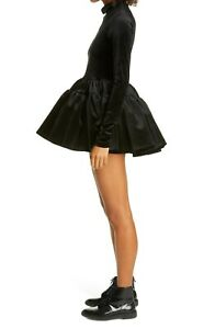 SHUSHU/TONG NEW Voluminous Tiered Plush Velvet Mini Dress UK 10 Long Sleeve