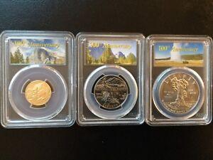 2016 National Parks Service Gold $5 + $1 Silver + Half First Strike MS70 SET !!