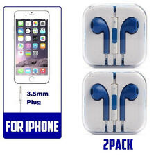 2 blue Generic Headset Earphones Earbuds Headphone With Microphone for