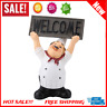 Home Bar Restaurant Kitchen Decor Chef Figurine Statue Welcome Board Craft