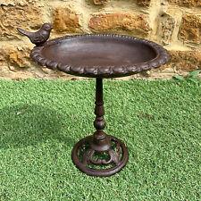 More details for antique cast iron freestanding wild robin bird bath water feeder garden ornament