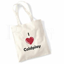 'I love (Heart) Coldplay' Cotton Canvas Reusable Shopping Tote Bag