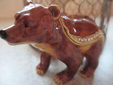 Brown Bear ~ Bejeweled Enamel Trinket Box ~ #4199