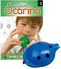 Plastic Ocarina Blue 4-hole and Play Your Ocarina Book 1 With Delivery