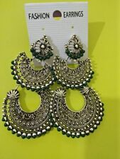 Indian Contemporary Oxidized  Vintage Silver Tribal Carved jhumka jhumki Earring