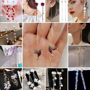 2021 Fashion Long Tassel Zircon Pearl Earrings Stud Drop Dangle Crystal Dangle