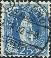 SUISSE / SWITZERLAND / SCHWEIZ - Mi.67D 25c bleu p.11-1/2x12 - Used LOCARNO 1902