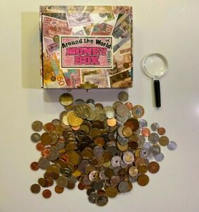 AROUND THE WORLD MONEY BOX COIN COLLECTION - 334 Coins from 43 Countries