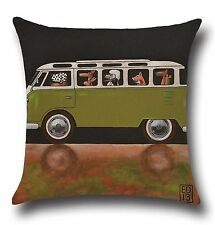 "Dog Camper Van 17"" Square Cushion Cover Pillow Case Home Lounge Decor Gift"
