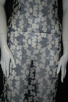 Silk chiffon woven fabric Printed   100% silk light weight  Navy Natural Floral