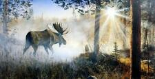 "Jim Hansel ""A Walk in the Mist"" Moose Art Print 12""x 7.75"""