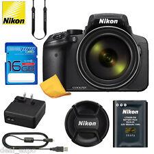 Nikon COOLPIX P900 16MP Digital Camera with 83x Optical Zoom BLACK+ 16GB SD CARD
